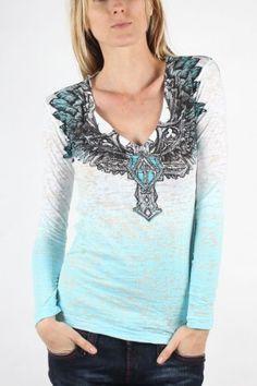 Affliction - Womens Elastic Long Sleeve V-Neck V-Neck T-Shirt In Wht/Capri Dip Dye Burnout