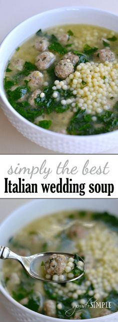 combined elements from several different Italian Wedding Soup recipes to create our all-time favorite version!I combined elements from several different Italian Wedding Soup recipes to create our all-time favorite version! Easy Soup Recipes, Cooking Recipes, Healthy Recipes, Recipes Dinner, Easy Italian Recipes, Vegetarian Cooking, Cooking Kale, Vegetarian Barbecue, Barbecue Recipes