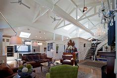 Shade, Cabinet & Rug Arrangement Idea in Contemporary Living Room -  Oriental Rug,  Open Floor Plan,  Green Chair, Drum Shades &  Pendant Lamps