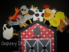 Old MacDonald Song Props  I found some of those cute wood figures you can get at Michaels, Hobby Lobby, etc., and bought a bunch of farm animals. But then I decided the animals needed a barn.  Suddenly I realized this would be perfect visual aids for Old McDonald!   I made the barn out of foam board, covered i...