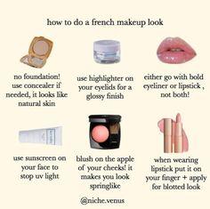 beauty aesthetic makeup How to get a natural french look Makeup Goals, Makeup Hacks, Makeup Inspo, Makeup Inspiration, Makeup Tips, Makeup Ideas, Makeup Tutorials, Makeup Stuff, Classy Aesthetic