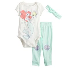 Disney's The Little Mermaid Baby Girl Ariel Graphic Bodysuit, Shell Pants & Headband Set by Jumping Beans®