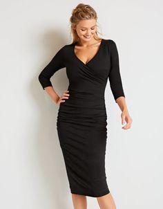 Leila 3/4 Sleeve Dress in Black by Bravissimo Clothing