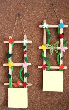 Rare and Easy Crafts for Kids that are Worth Trying - Popsicle stick art - Popsicle Stick Art, Popsicle Stick Crafts, Craft Stick Crafts, Preschool Crafts, Fun Crafts, Diy And Crafts, Easter Crafts, Easy Crafts For Kids, Summer Crafts