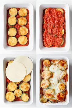 Plasterki cukinii zapiekane w sosie pomidorowym z mozzarellą | Kwestia Smaku Yummy Eats, Bon Appetit, Mozzarella, Food Porn, Food And Drink, Low Carb, Healthy Recipes, Snacks, Diet
