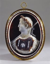 "The Royal Collection  Emperor Claudius   ""Sardonyx, multi-layered white and brown; glass backing with colouring, closed copper-gilt mount.  Provenance:   Possibly Abraham Gorlaeus of Delft; from whom perhaps acquired by Henry, Prince of Wales (d. 1612); from whom inherited by Charles I when Prince of Wales; Royal collection by c.1613-15."""