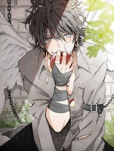 Hot anime guy with wings, who chained this guy up?? He looks so innocent! Lol