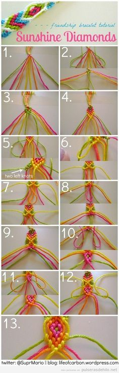 How To Make Alphabet Friendship Bracelets - Embroidery Patterns Sunshine Diamonds Friendship Bracelet Tutorial embroidery floss Diamond Friendship Bracelet, Friendship Bracelet Patterns, Diy Friendship Bracelets Tutorial, String Friendship Bracelets, Armband Tutorial, Bracelet Tutorial, Macrame Tutorial, Diy Tutorial, Bracelet Crafts