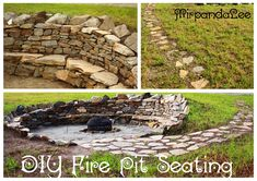 This is a DIY fire pit seating area I built in my yard using found stones, sand & a metal fire pit I bought (optional). This only cost $130 and took A LOT of hard work & help from my family. We dug a 15' (diameter) hole in the side of a small hill & collected several truckloads of large, flat stones from an old rock quarry. Then we just stacked & leveled, stacked & leveled, etc. It turned out awesome & has held together through the rainiest season I have ever seen with just dirt/sand as…