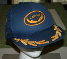 Vintage CAPTAIN scrambled egg Snapback Cap Hat-Trucker/fishing/military/golf/fab