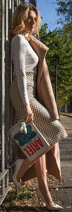 High Waist Midi Skirt women fashion outfit clothing style apparel @roressclothes closet ideas