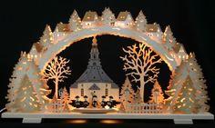 3D Schwibbogen Kirche Seiffen Kurrende 70x40cm Erzgebirge Lichterbogen Seiffener