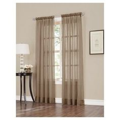 "Erica Crushed Sheer Voile Rod Pocket Curtain Panel Taupe (Brown) 51""x84"" - No. 918"