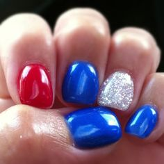 4th of July gel nail