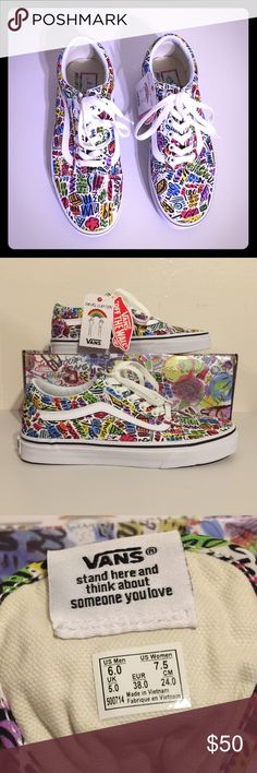 NWT Vans Vibrant Doodle Artwork by Dallas Clayton Cheerful, bright and colorful artwork designed by Dallas Clayton.  Super cute and fun shoes.  Comfy footbed for added comfort.  Unisex: M 6.0/W 7.5 Vans Shoes Sneakers