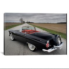 1956 Ford Thunderbird by Unknown Artist What a way to decorate! your favorite pieces of history on a nice canvas. A perfect way to match up your mancave, bedroom, garage, gameroom etc. Car Ford, Ford Trucks, Vintage Cars, Antique Cars, Ford Classic Cars, Convertible, Us Cars, Cars Usa, Classic Motors