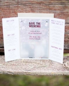 Click to see what sustainable material these country-chic save-the-dates are made of