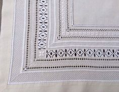 Marina's Lovely Tablecloth - Luzine Happel Hand Embroidery Tutorial, Embroidery Sampler, Hardanger Embroidery, White Embroidery, Hand Embroidery Designs, Cross Stitch Embroidery, Embroidery Patterns, Straight Stitch, Back Stitch