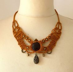 Handmade Tribal Macrame Necklace, Set Stone With Brass Beads And Bells OOAK on Etsy, $84.70 CAD