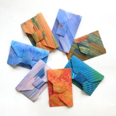 These origami envelopes were each made from a square piece of paper.