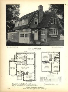 The CLAUDELL - Home Builders Catalog: plans of all types of small homes by Home Builders Catalog Co.  Published 1928