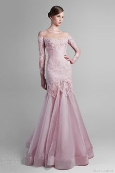 gemy maalouf couture spring 2014 pink long sleeve gown--- Too bad I would never have an occasion to wear this. Western Wedding Dresses, Colored Wedding Dresses, Bridal Dresses, Wedding Gowns, Bridesmaid Dresses, Hair Wedding, Wedding Makeup, Long Sleeve Gown, Beautiful Gowns