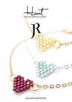 Beaded Heart Bracelet Tutorial Beaded Heart by JeannieRichard Diy Jewelry Necklace, Bead Jewellery, Seed Bead Earrings, Beaded Earrings, Bff Bracelets, Heart Bracelet, Beaded Bracelets, Armband Tutorial, Necklace Tutorial