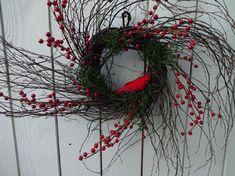 Christmas Wreaths For Front Door, Christmas Door Decorations, Holiday Wreaths, Door Wreaths, Red Berry Wreath, Country Christmas, Christmas Holiday, Twig Wreath, Autumn Wreaths