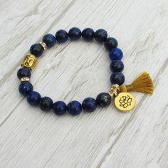 Bracelet de yoga lapis lazuli perle de par LaCaravaneTzigane