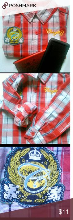 🚙  COOGI BOYS SHIRT SIZE 4T🚙 Classic red plaid Coogi shirt.  Long sleeves that roll up and button on place.  Button shoulder straps too shirt is a big boy style. Size 4T with Coogi written on the front on the left side and the classic Coogi emblem the right. Button down with red buttons. EUC Ask b4 you buy! Offers welcome using the button below only.  Questions?? Just Ask. My pleasure to answer Coogi Shirts & Tops Button Down Shirts