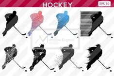 Silhouettes of a hockey players. Set by Matrosovv on @creativemarket