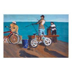 Fishing on Stearns Wharf, Santa Barbara Poster Wedding Programs, Santa Barbara, Fishing, Poster, California, Painting, Design, Art, Art Background
