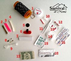 Make a pill bottle survival kit by filling it with contents like the ones in this photo.