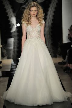 New Reem Acra Wedding Dresses: Nearly Nude Illusion Bodices, High-Voltage Sparkle, and Umbrella Veils. Naturally
