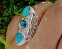 Turquoise Ring - natuurlijke Turkoois sieraden - Ring Boho - Gypsy Ring - Turquoise Ring Zilver - Nepalese Tibetaanse sieraden