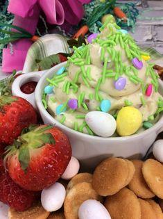 Springtime Cheesecake Dip! Easter Recipes, Dip Recipes, Holiday Recipes, Sweet Recipes, Holiday Treats, Pretzel Chips, Cadbury Eggs, Cheesecake Dip, Incredible Recipes
