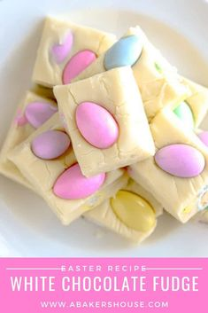 Easter white chocolate fudge is quick and easy to make with this microwave white fudge recipe! Only three ingredients and less than 5 minutes of active prep time are needed to create this festive no bake spring treat. #Easter #springdessert #jordanalmonds #whitefudge #whitechocolate #whitechocolatefudge #abakershouse #lovesprouts #sponsored