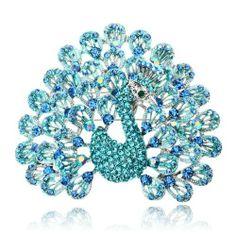 Arinna Shining Blue Bird Rhinestone Fashion Brooch Pin 18K White Gp Swarovski Crystal Arinna. $23.98