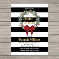 Christmas Bridal Shower Invitation Black by DesignedbyGeorgette