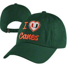 Miami Hurricanes Women's Dark Green Lovin' It Washed Stretch Fit Hat