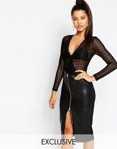 Super seje NaaNaa Longsleeve Lace Bodysuit - Black NaaNaa Toppe til Damer i dejlige materialer