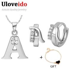 Find More Jewelry Sets Information about Uloveido Spring Initial Bridesmaid Jewelry Sets Silver  Set  Letters A B C D E F G H I J K L M N O P Q R S T U V W X Y Z T324,High Quality jewelry piercing,China jewelry natural Suppliers, Cheap jewelry showroom from ULOVE Fashion Jewelry Official Store on Aliexpress.com