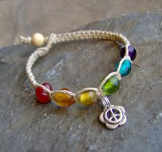 Hemp Bracelet w/ Rainbow Glass Beads Peace Sign- Hemp Jewelry - Beaded Hemp Bracelet by KnottyandNiceHemp, $8.00