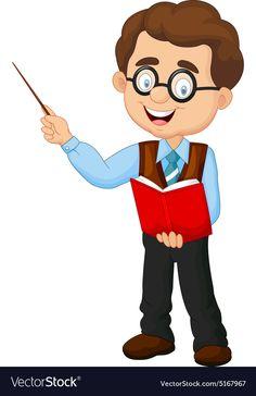 Cartoon male teacher vector image on VectorStock Teacher Cartoon, Cartoon Man, Community Clipart, Bacteria Cartoon, Community Helpers Crafts, Teacher Images, Art Classroom Management, Community Workers, Classroom Birthday