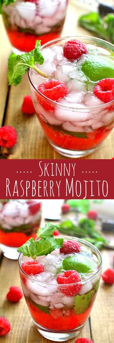 Skinny Raspberry Mojitos combine classic mojito flavors with fresh raspberries in a skinny cocktail that's perfect for summer!