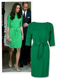 """Diane von Furstenberg """"Maja"""" Dress  The royal stopped by a reception at the British Consul-General's residence in Canada last summer wearing Diane von Furstenberg's belted emerald green """"Maja"""" dress. Immediately after her visit, stores couldn't keep the $535 style in stock."""