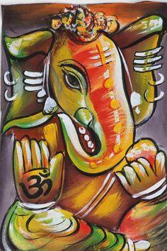Ganesh Silk Hand Painting Art Work