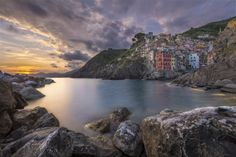 The sun is setting over Riomaggiore - Cinque Terre by Bjorn Moerman on 500px