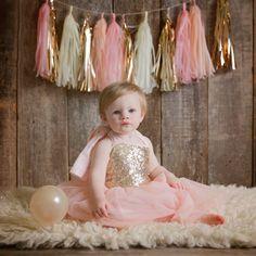 1st Birthday photos and Pink Smash Cake Garland