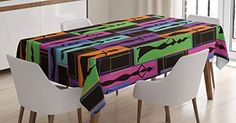 African Woman Tablecloth by Ambesonne, Colorful Abstract Geometric Pattern Frames with Women Carrying Vases on Heads, Dining Room Kitchen Rectangular Table Cover, 60 W X 90 L Inches, Multicolor